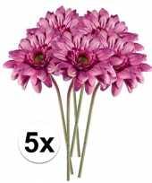 5x roze gerbera kunstbloemen 47 cm trend
