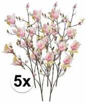 5x roze magnolia kunstbloemen tak 105 cm trend