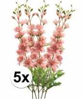 5x roze ridderspoor kunstbloemen tak 70 cm trend