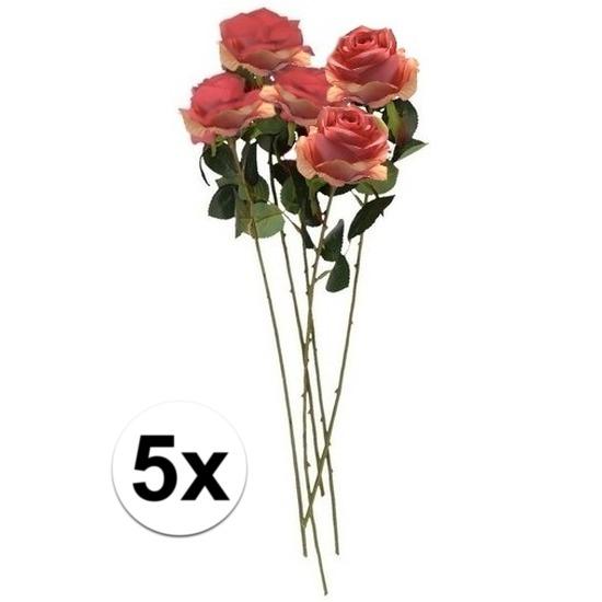 5x roze roos kunstbloem simone 45 cm trend