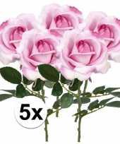 5x roze rozen carol kunstbloemen 37 cm trend