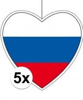 5x rusland hangdecoratie harten 28 cm trend