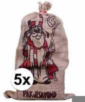 5x sinterklaas zakken van jute 60 x 102 cm trend