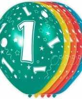 5x stuks 1 jaar thema versiering heliumballonnen 30 cm trend