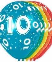 5x stuks 10 jaar thema versiering heliumballonnen 30 cm trend