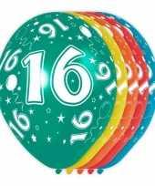 5x stuks 16 jaar thema versiering heliumballonnen 30 cm trend