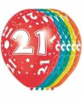 5x stuks 21 jaar thema versiering heliumballonnen 30 cm trend