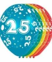 5x stuks 25 jaar thema versiering heliumballonnen 30 cm trend