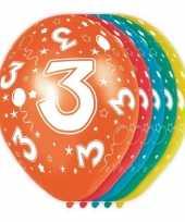 5x stuks 3 jaar thema versiering heliumballonnen 30 cm trend