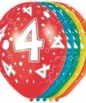 5x stuks 4 jaar thema versiering heliumballonnen 30 cm trend