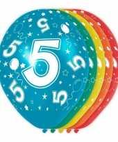 5x stuks 5 jaar thema versiering heliumballonnen 30 cm trend