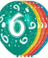 5x stuks 6 jaar thema versiering heliumballonnen 30 cm trend