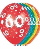 5x stuks 60 jaar thema versiering heliumballonnen 30 cm trend
