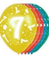 5x stuks 7 jaar thema versiering heliumballonnen 30 cm trend