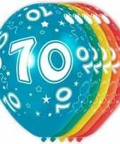 5x stuks 70 jaar thema versiering heliumballonnen 30 cm trend