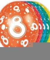 5x stuks 8 jaar thema versiering heliumballonnen 30 cm trend