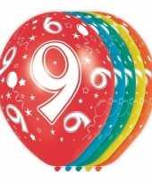 5x stuks 9 jaar thema versiering heliumballonnen 30 cm trend