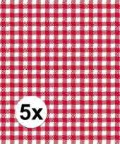 5x verpakking oktoberfest feestservetten geruit rood wit 3 laags 20 stuks trend