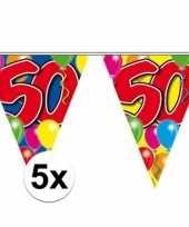 5x vlaggetjes lijn plastic 50 jaar 10 meter trend