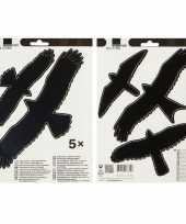 5x vogel afweer raamstickers zwart 17 x 24 cm trend