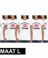 5x vrijgezellenfeest team t-shirt wit dames maat l trend