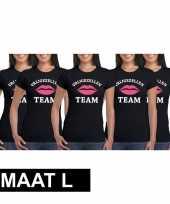 5x vrijgezellenfeest team t-shirt zwart dames maat l trend