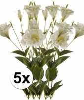 5x wit groene lisianthus kunstbloemen tak 85 cm trend
