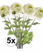 5x wit groene ranonkel kunstbloemen tak 45 cm trend