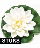 5x witte lotus waterlelies kunstbloemen 10 cm trend