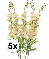 5x witte ridderspoor kunstbloemen tak 70 cm trend