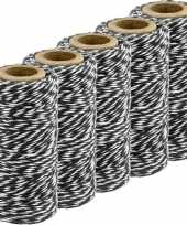 5x zwart wit bakkerstouw 50 meter hobby materiaal trend