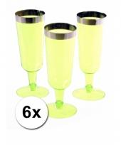 6 groene champagneglazen van plastic trend
