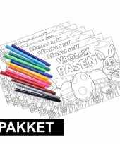 6 pasen kleurplaten placemats inclusief stiften trend