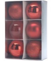 6 rode kerstballen 8 cm trend