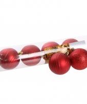 6 rode kerstballen glitter en mat trend