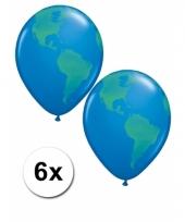 6 wereldbol ballonnen 40 cm trend
