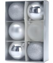 6 zilveren kerstballen 8 cm trend