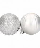 6 zilveren kerstballen glitter en mat trend