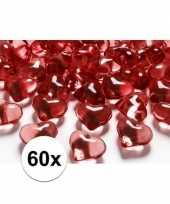 60 hartjes steentjes rood 2 cm trend