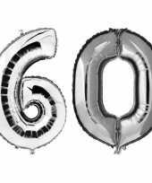 60 jaar zilveren folie ballonnen 88 cm leeftijd cijfer trend