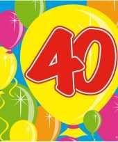 60x 40 jaar leeftijd themafeest servetten balloons 25 x 25 cm trend