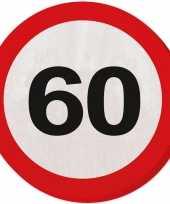 60x 60 jaar leeftijd themafeest servetten verkeersbord 33 cm ron trend