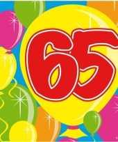 60x 65 jaar leeftijd themafeest servetten balloons 25 x 25 cm trend