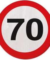 60x 70 jaar leeftijd themafeest servetten verkeersbord 33 cm ron trend