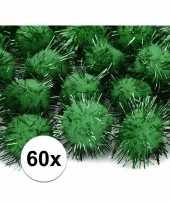 60x donkergroene knutsel pompons 20 mm trend