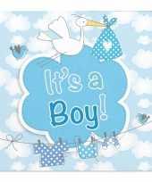 60x geboorte jongen babyshower servetten blauw 25 x 25 cm papier trend