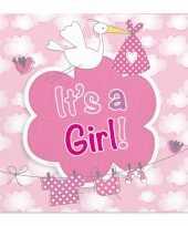 60x geboorte meisje babyshower servetten roze 25 x 25 cm papier trend