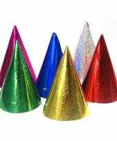 60x gekleurde papieren feesthoedjes holografisch trend