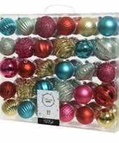 60x kerstballen rood goud mintgroen fuchsia 6 7 cm kunststof mix trend