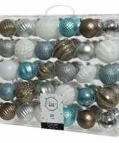60x kerstballen wit bruin ijsblauw zilver 6 7 cm kunststof mix trend